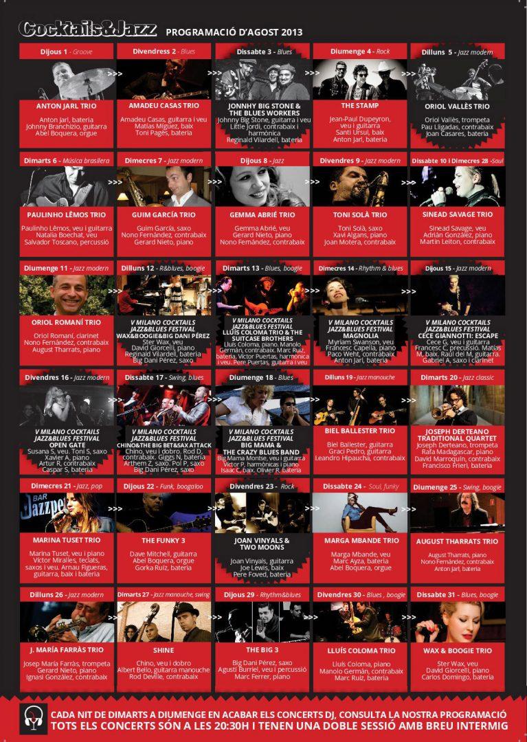 programación conciertos agosto 2013 Milano Jazz Club